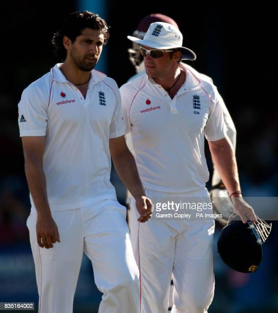 England's Amjad Khan with captain Andrew Strauss during the fifth test at Queen's Park Oval Port of Spain Trinidad