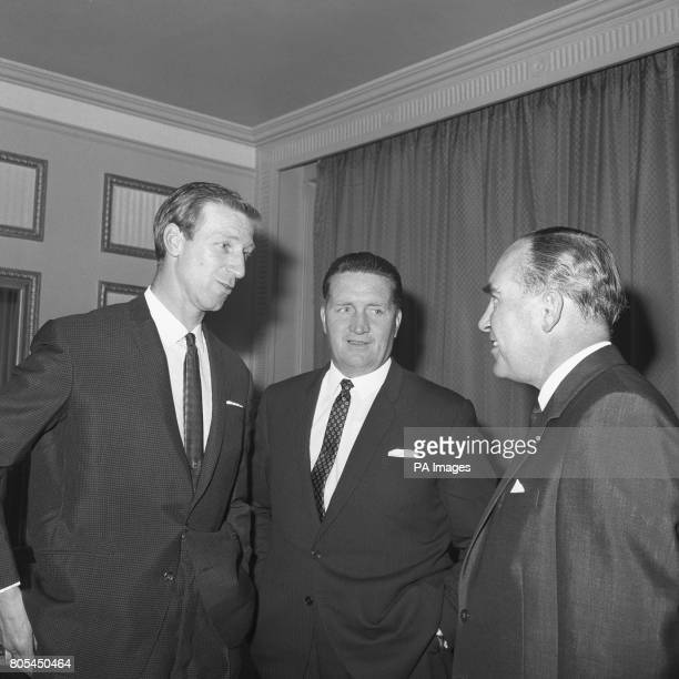 England's and Leeds United's Jackie Charlton and Celtic Manager Jock Stein chat with England Manager Sir Alf Ramsey at the Football Writers'...