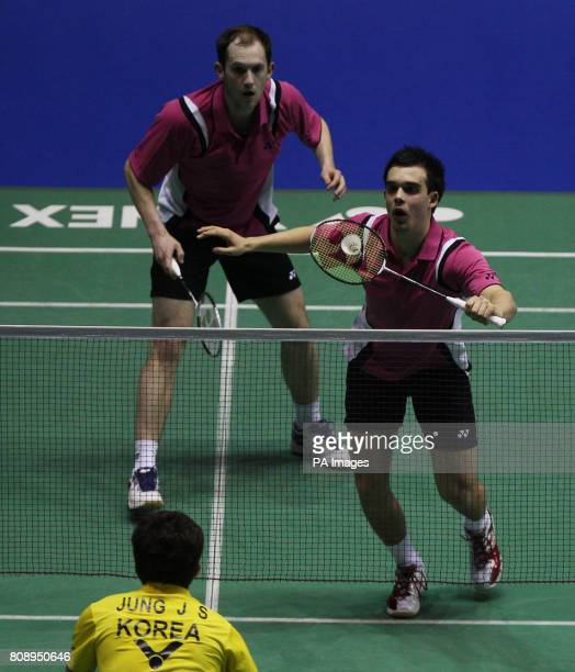England's Andrew Ellis and Chris Adcock during their first round defeat against Korea's Jung Jae Sung and Lee Yong Dae during the Yonex All England...