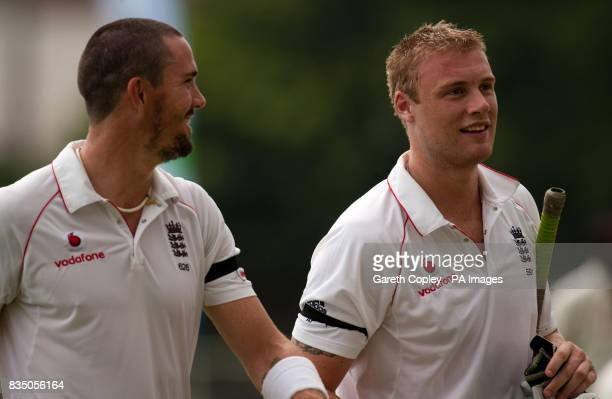 England's Andrew Flintoff and Kevin Pietersen leave the field for tea during the First Test at Sabina Park Kingston Jamaica