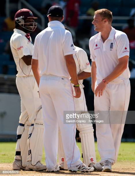 England's Andrew Flintoff and Kevin Pietersen talk to West Indies captain Chris Gayle after he was found 'not out' after a referral during the First...