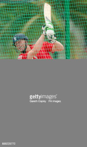 England's Andrew Flintoff bats during a nets session at Everest Cricket Ground Georgetown Guyana