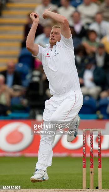England's Andrew Flintoff bowls during day two of the first npower Test match at Sophia Gardens Cardiff