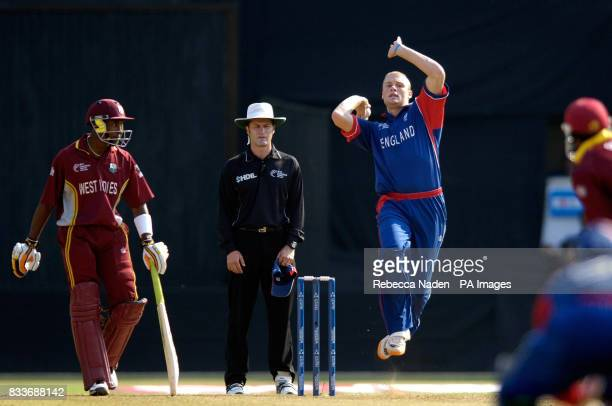 England's Andrew Flintoff bowls during the ICC Champions Trophy match against the West Indies at the Sardar Patel Stadium Ahmedabad India