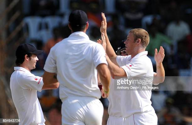 England's Andrew Flintoff celebrates taking the wicket of Virender Sehwag during the fifth day of the First Test Match at the M A Chidambaram Stadium...