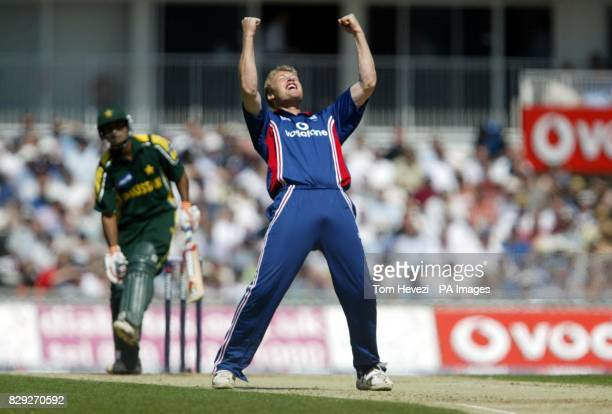 England's Andrew Flintoff celebrates trapping Pakistan's Mohammad Hafeez lbw for 14 runs during the second NatWest Challenge match at the AMP Oval...