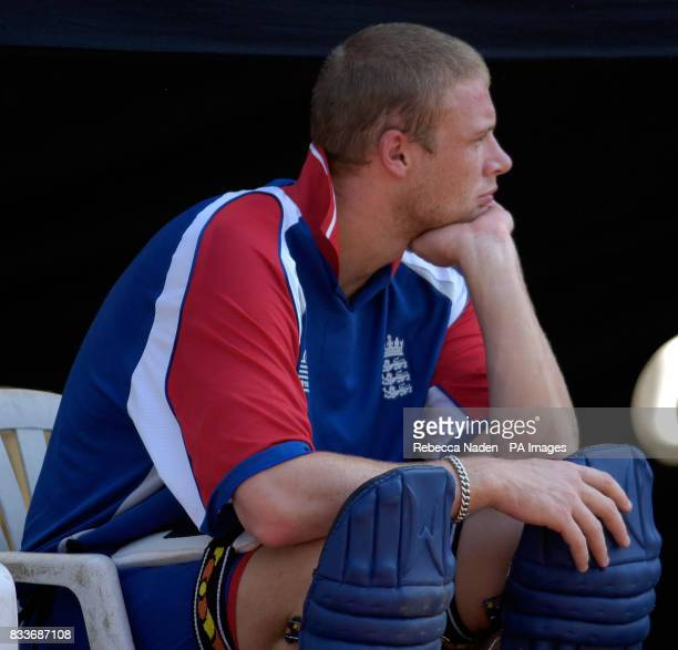 England's Andrew Flintoff during a nets practice session at the Sardar Patel Stadium Ahmedabad India