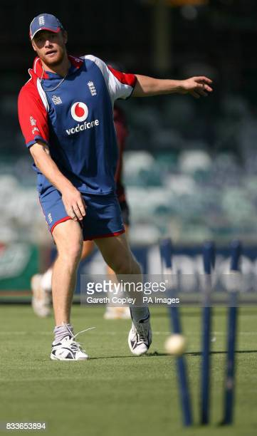 England's Andrew Flintoff during a nets session at the WACA Perth Australia