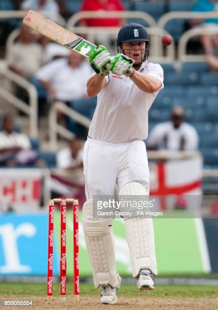 England's Andrew Flintoff hits out during the First Test at Sabina Park Kingston Jamaica