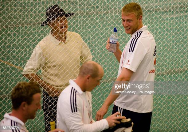 England's Andrew Flintoff talks to former player Geoffrey Boycott during the nets session at Headingley Cricket Ground Leeds