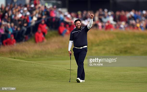 England's Andrew Johnston waves to the spectators on the 18th during his final round 73 on day four of the 2016 British Open Golf Championship at...