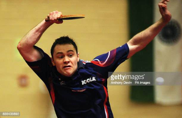 England's Andrew Rushton in action during India's Table Tennis Tour at Dormers Wells Leisure Centre in Southall London