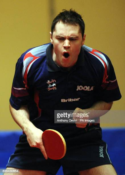 England's Andrew Rushton reacts during India's Table Tennis Tour at Dormers Wells Leisure Centre in Southall London