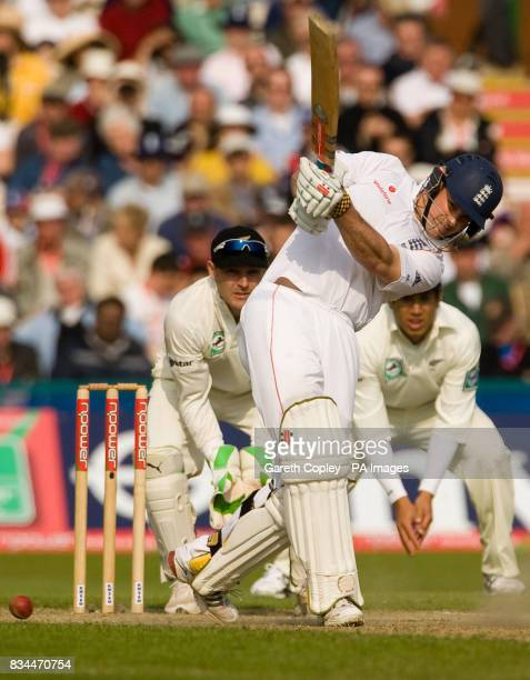 England's Andrew Strauss hits out watched by New Zealand wicketkeeper Brendon McCullum during the Second npower Test Match at Old Trafford Cricket...