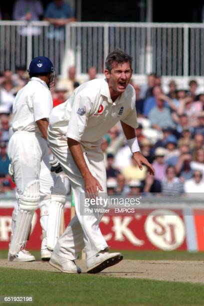England's Andy Caddick makes an unsucessful appeal for an LBW against India's Sanjay Bangar