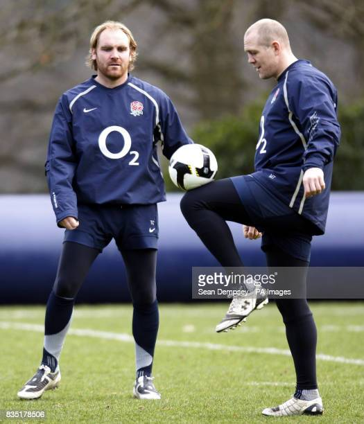 England's Andy Goode and Mike Tindall during a training session at Pennyhill Park Surrey