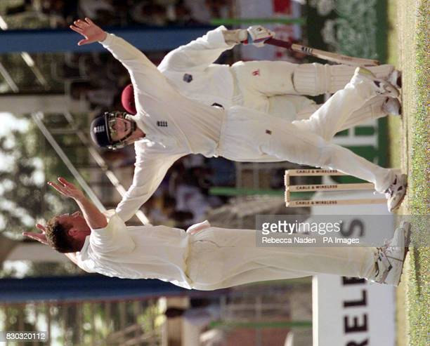 England's Angus Fraser and John Crawley appeal for the wicket of Stuart Williams during the 2nd Test between the West Indies and England at Queen's...