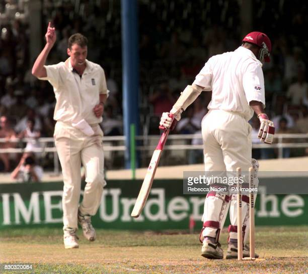 England's Angus Fraser celebrates the wicket of Kenny Benjamin during the 2nd Test between England and the West Indies at Queen's Park Oval Trinidad...
