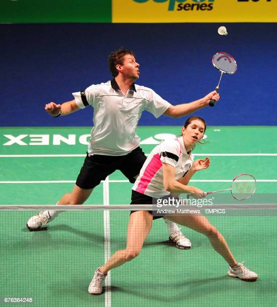 England's Anthony Clark and Heather Olver in action against Korea's Yong Dae Lee and Hyo Jung Lee