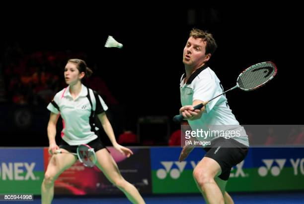 England's Anthony Clark and Heather Olver in action against Korea's Yong Dae Lee and Hyo Jung Lee during the Yonex All England Open Badminton...