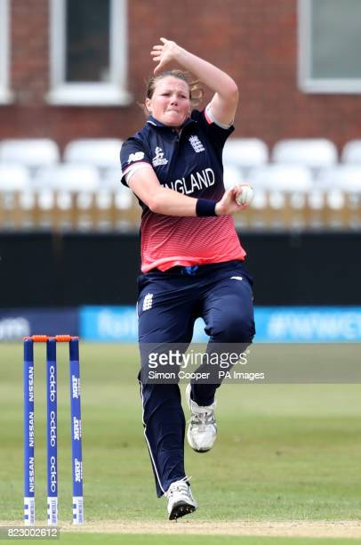 England's Anya Shrubsole bowls during the 2017 ICC Women's World Cup warmup match at the 3aaa County Ground Derby