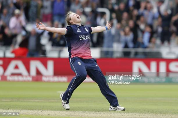 England's Anya Shrubsole celebrates as she takes the wicket of India's Rajeshwari Gayakwad to win the ICC Women's World Cup cricket final between...