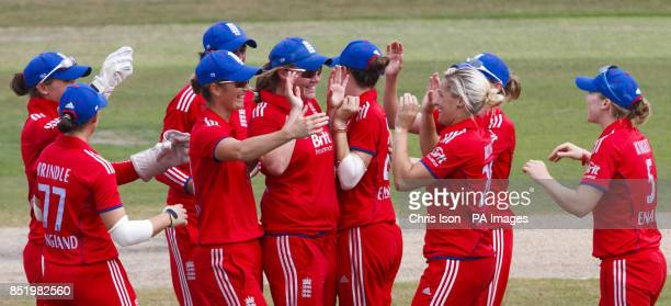 England's Anya Shrubsole celebrates catching Australian opener Rachael Haynes during the One Day International at The County Ground Hove