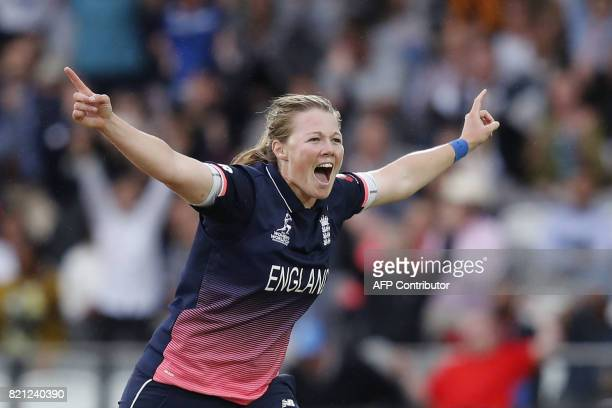 England's Anya Shrubsole celebrates taking the wicket of India's Jhulan Goswami during the ICC Women's World Cup cricket final between England and...
