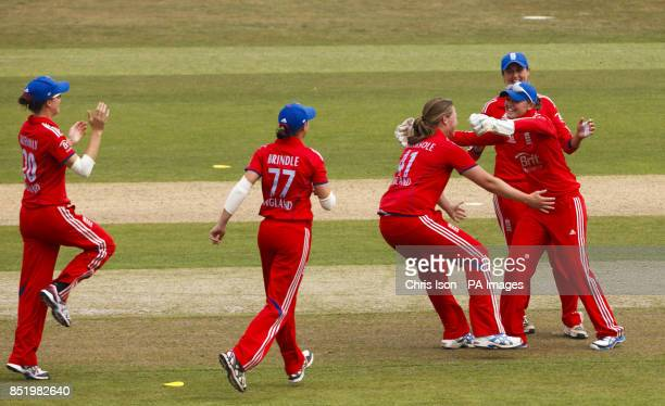England's Anya Shrubsole celebrates the wicket of Australian opener Meg Lanning during the One Day International at The County Ground Hove