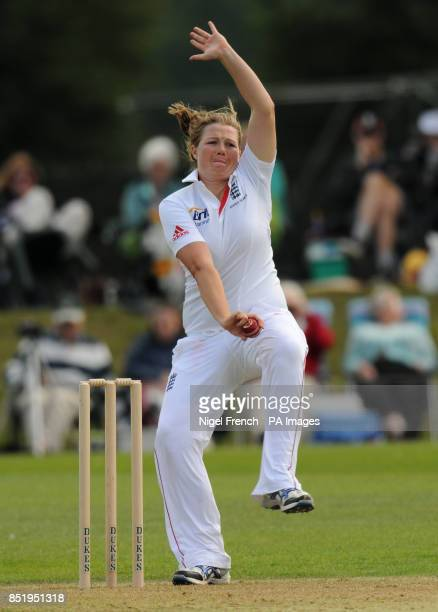 England's Anya Shrubsole in bowling action