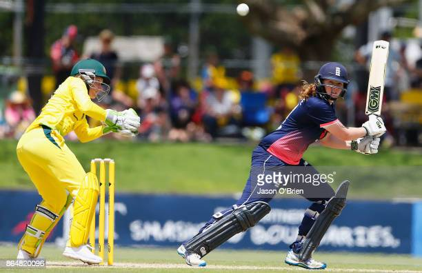 England's Anya Shrubsole plays a shot during the Women's One Day International between Australia and England at Allan Border Field on October 22 2017...