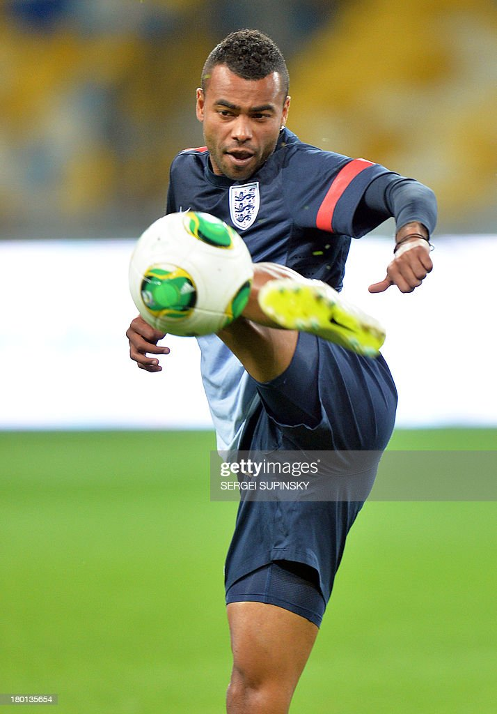 England's Ashley Cole takes part in the training session in Kiev on September 9, 2013, the day before the World Cup 2014 qualifying football match against Ukraine.