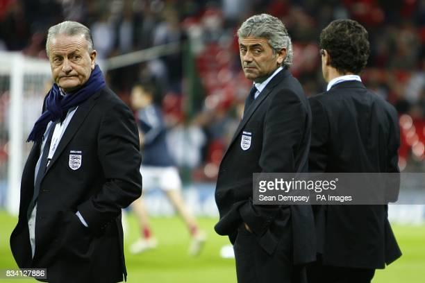 England's Assistant Coach Italo Galbiati general manager Franco Baldini and manager Fabio Capello