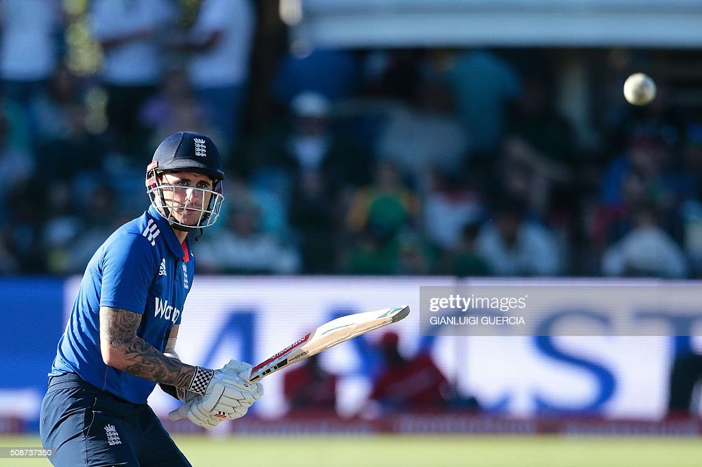 England's batsman Alex Hales plays a shot before getting cought out on 99 runs during the second One Day International match between England and South Africa at Saint George's park on February 6, 2016 in Port Elizabeth, South Africa. / AFP / GIANLUIGI GUERCIA
