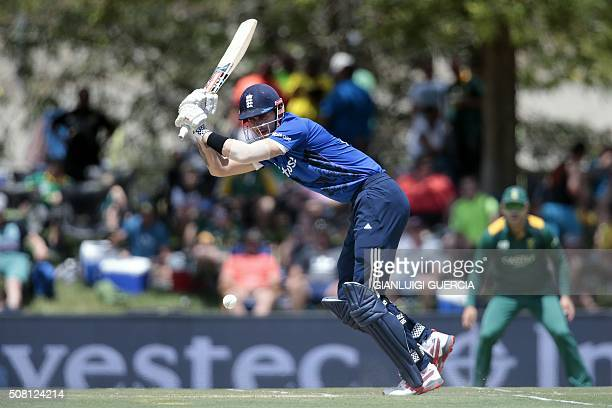 England's batsman Alex Hales plays a shot during the first One Day International match between England and South Africa at the Mangaung Oval stadium...
