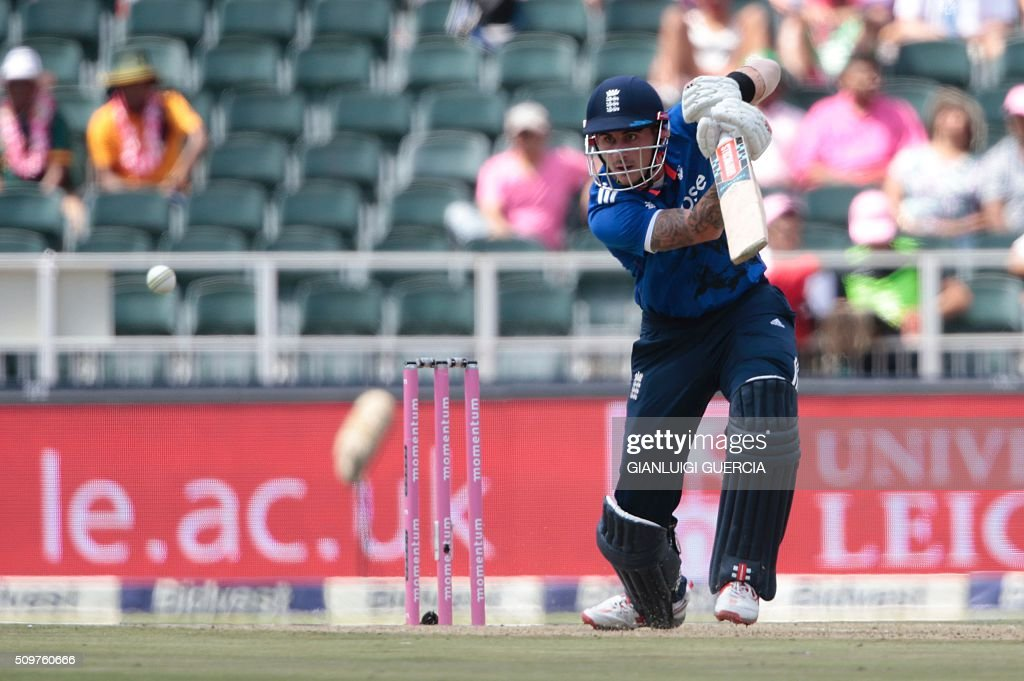 England's batsman Alex Hales plays a shot during the fourth One Day International (ODI) match between England and South Africa at Wanderers on February 12, 2016 in Johannesburg, South Africa. South African players are dressed in pink to raise awareness about breast cancer. / AFP / GIANLUIGI GUERCIA