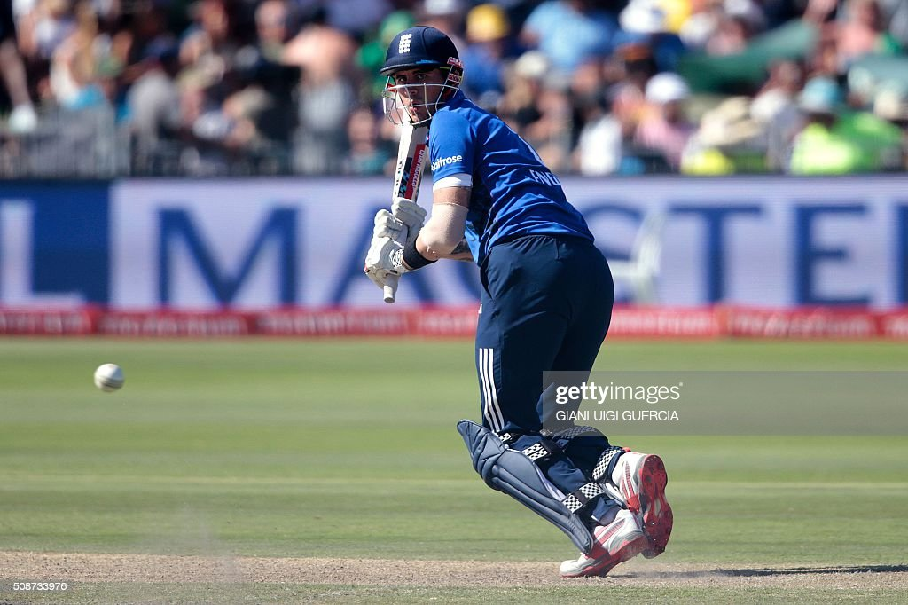 England's batsman Alex Hales plays a shot during the second One Day International match between England and South Africa at Saint Geroge's park on February 6, 2016 in Port Elizabeth, South Africa. / AFP / GIANLUIGI GUERCIA