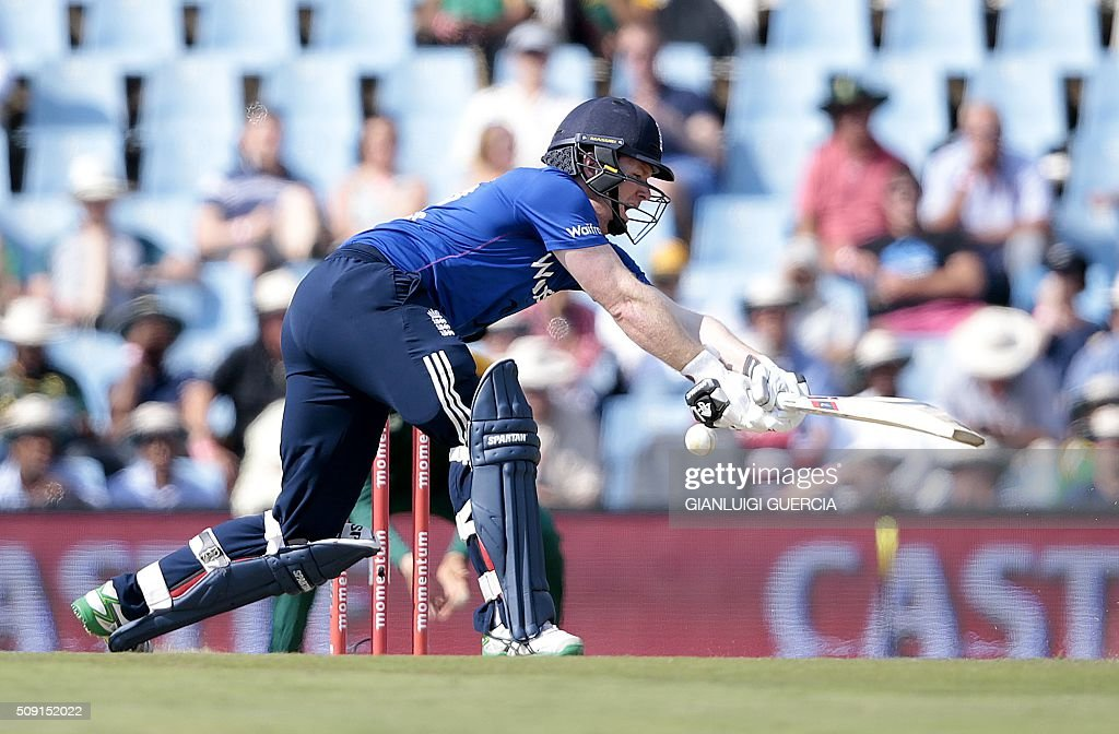 England's batsman Eoin Morgan plays a shot during the third One Day International (ODI) cricket match between England and South Africa at the Supersport park on February 9, 2016 in Centurion, South Africa. GUERCIA