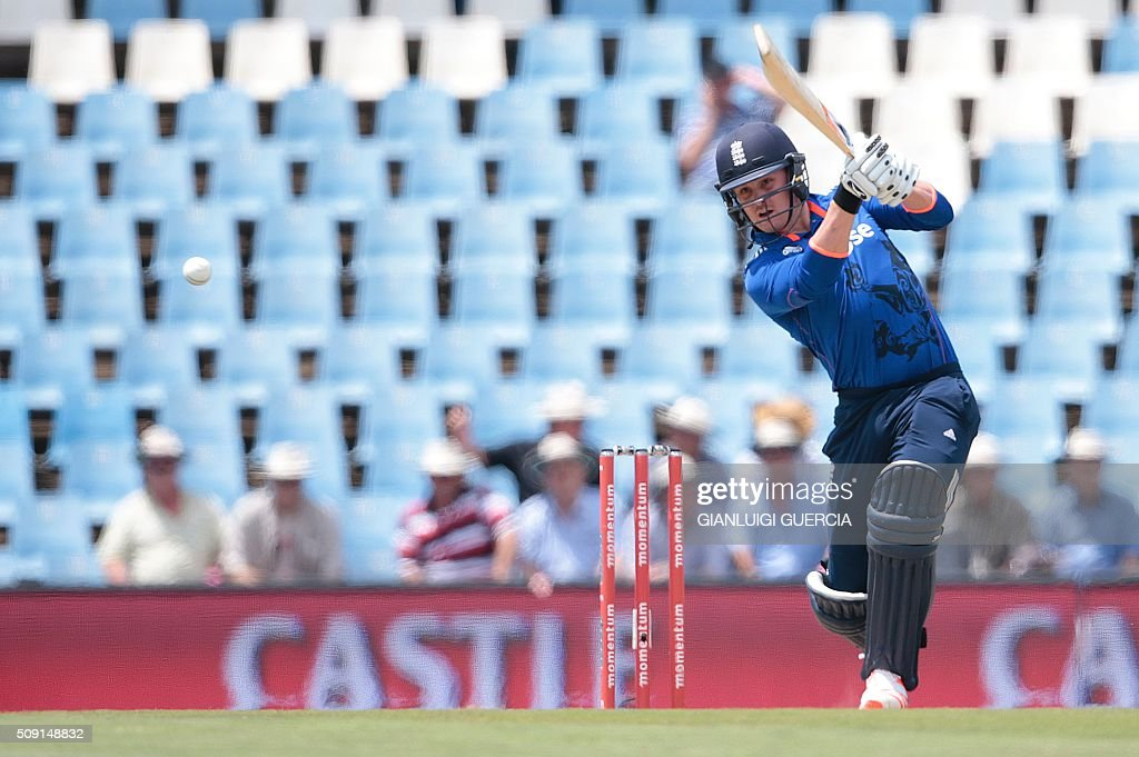 England's batsman Jason Roy plays a shot during the third One Day International match between England and South Africa at Supersport park on February 9, 2016 in Centurion, South Africa. GUERCIA