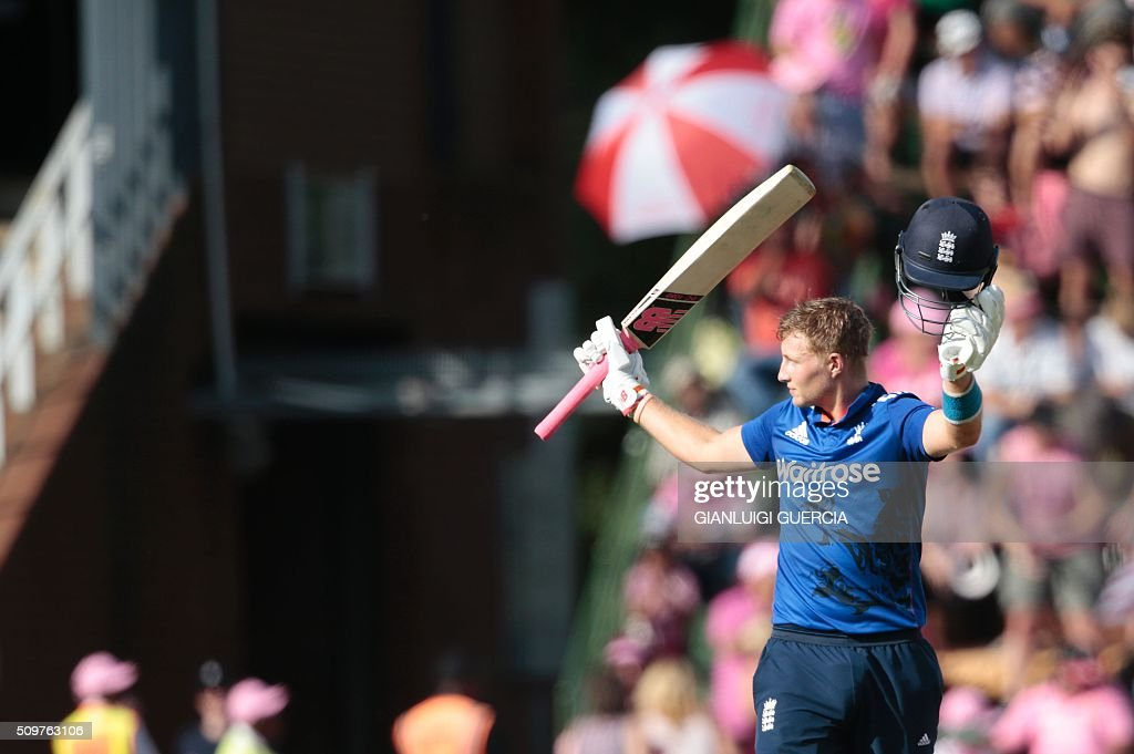 England's batsman Joe Root celebrates after scoring a century (100 runs) during the fourth One Day International (ODI) cricket match between England and South Africa at Wanderers on February 12, 2016 in Johannesburg, South Africa. / AFP / GIANLUIGI GUERCIA