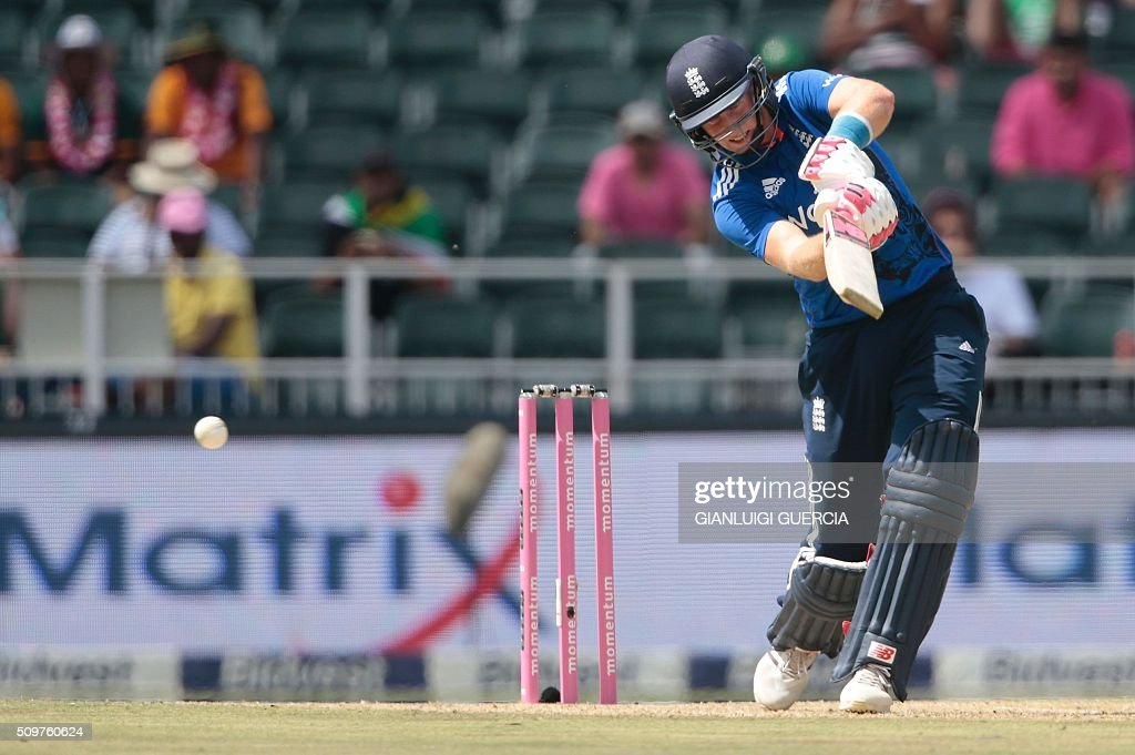 England's batsman Joe Root plays a shot during the fourth One Day International (ODI) match between England and South Africa at Wanderers on February 12, 2016 in Johannesburg, South Africa. South African players are dressed in pink to raise awareness about breast cancer. / AFP / GIANLUIGI GUERCIA