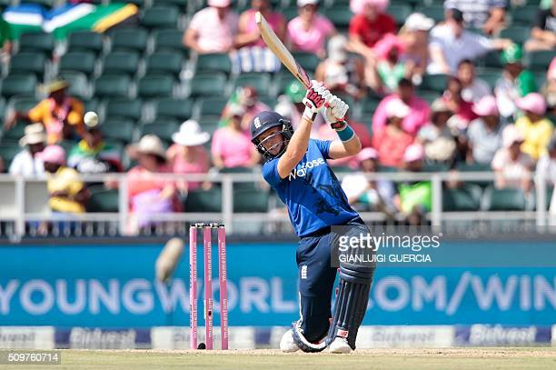 England's batsman Joe Root plays a shot during the fourth One Day International match between England and South Africa at Wanderers on February 12...