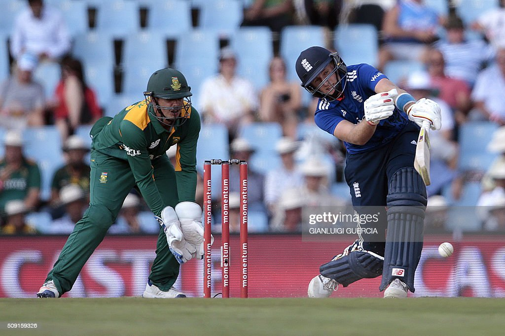 England's batsman Joe Root (R) plays a shot during the third One Day International match between England and South Africa at the Supersport park on February 9, 2016 in Centurion, South Africa. GUERCIA
