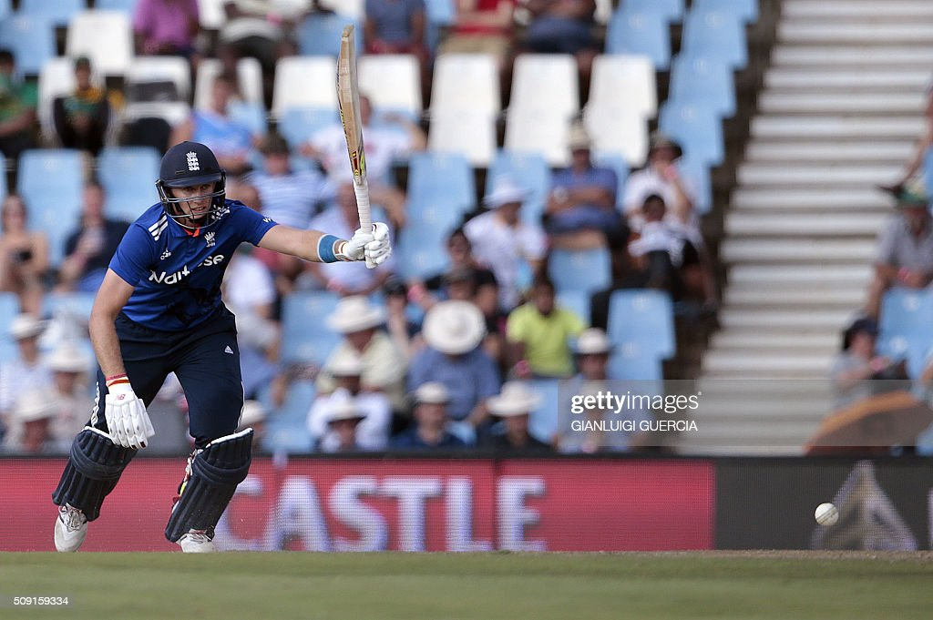 England's batsman Joe Root plays a shot during the third One Day International match between England and South Africa at the Supersport park on February 9, 2016 in Centurion, South Africa. GUERCIA
