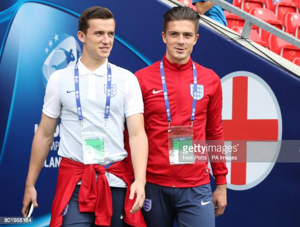 England's Ben Chilwell and Jack Grealish before the UEFA European Under21 Championship Semi Final match at Stadion Miejski Tychy