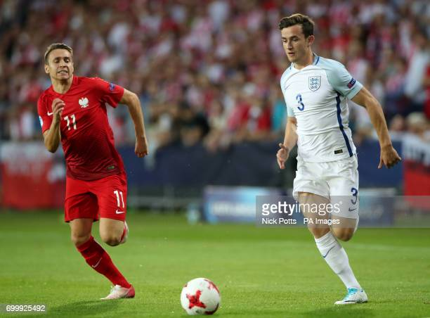 England's Ben Chilwell and Poland's Przemyslaw Frankowski battle for the ball during the UEFA European Under21 Championship Group A match at the...