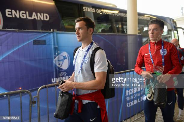 England's Ben Chilwell left and Jack Grealish arrive ahead of the UEFA European Under21 Championship match between Sweden and England at Kielce...