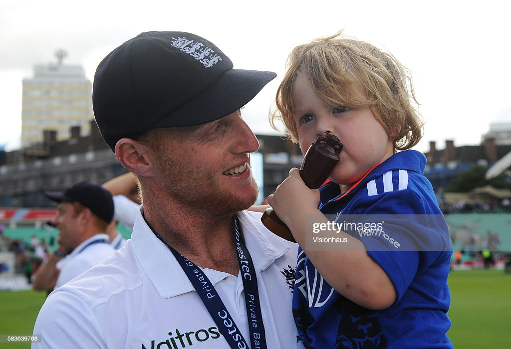 Ben Stokes with his son Layton Strokes