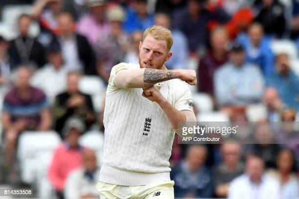 England's Ben Stokes asks for a review during play on the first day of the second Test Match between England and South Africa at Trent Bridge cricket...