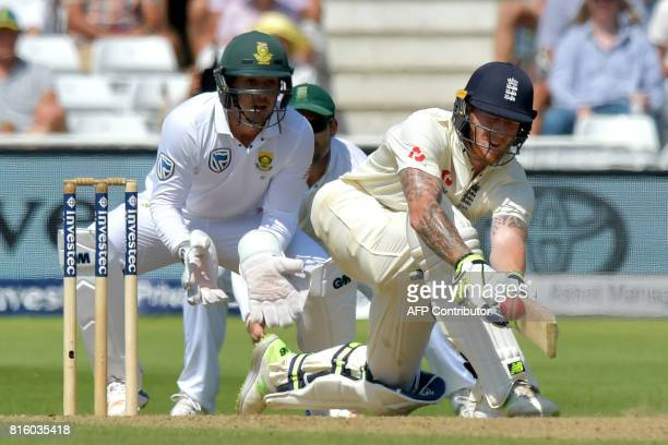 England's Ben Stokes bats on the fourth day of the second Test match between England and South Africa at Trent Bridge cricket ground in Nottingham...